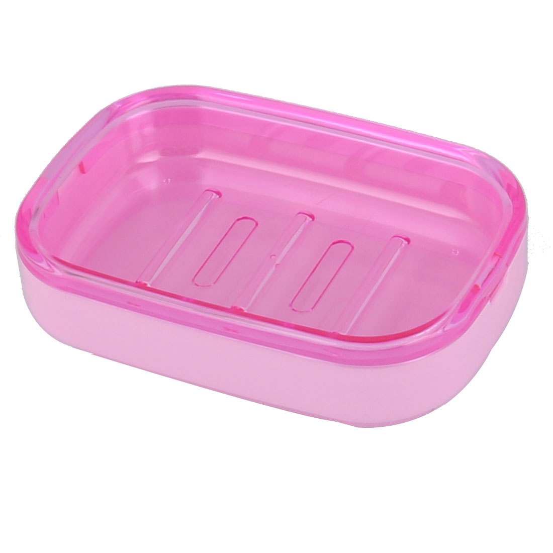Hotel Household Bathroom Wave Base PP 2 Layers Soap Box Holder Case Container Pink