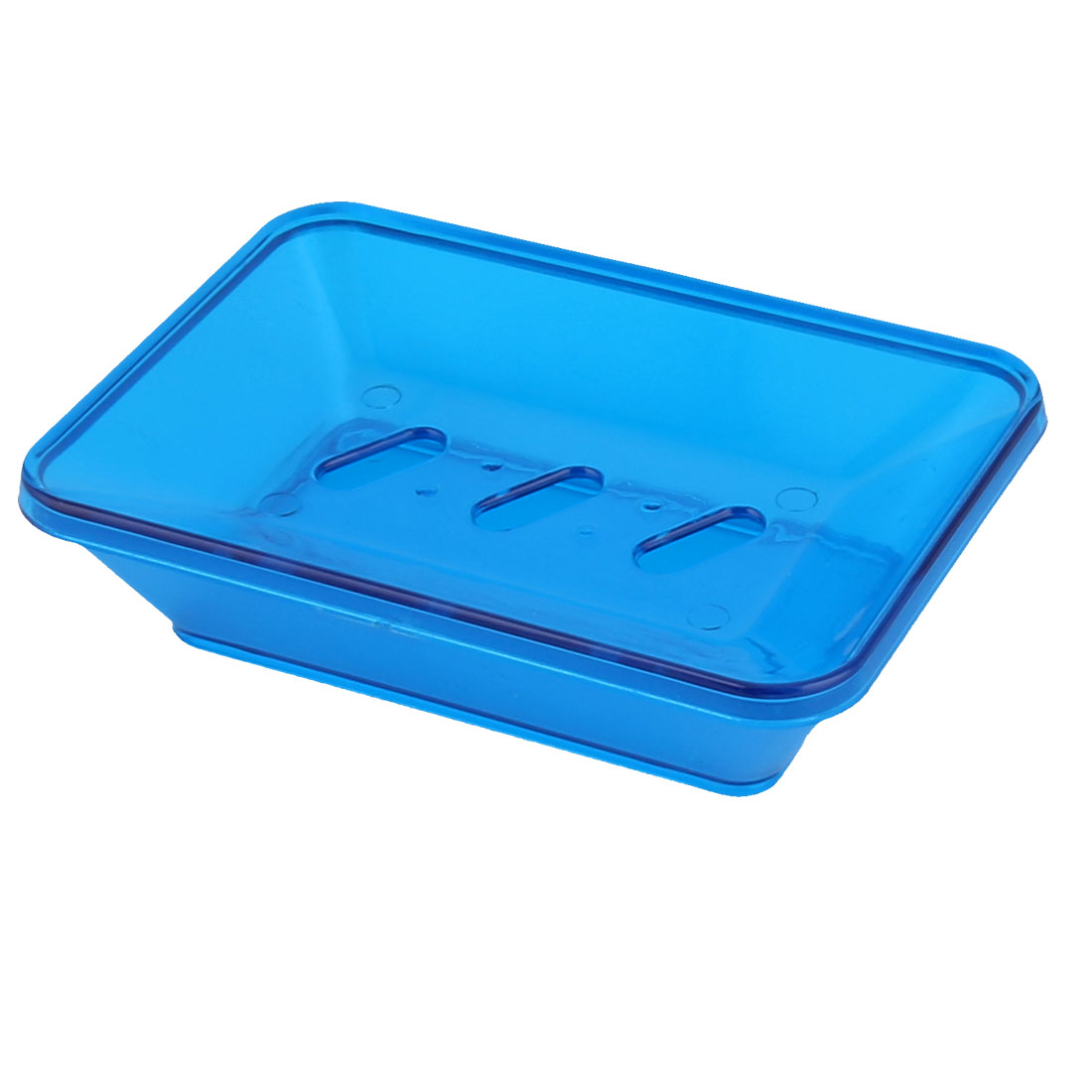 Household Bahtroom Trapezoid Plastic 2 Layers Soap Box Holder Dish Tray Blue