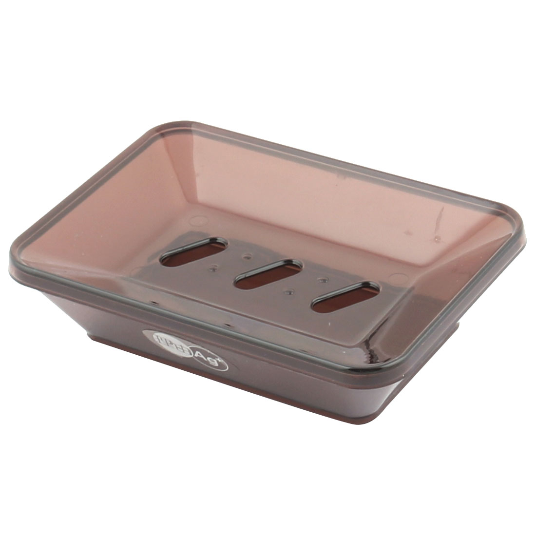 Household Bahtroom Trapezoid Plastic 2 Layers Soap Box Holder Dish Tray Brown