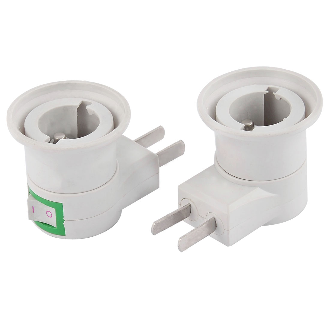 Home Plastic Metal L Shaped Mounting Bulb Lamp Socket Holder Adapter 2pcs