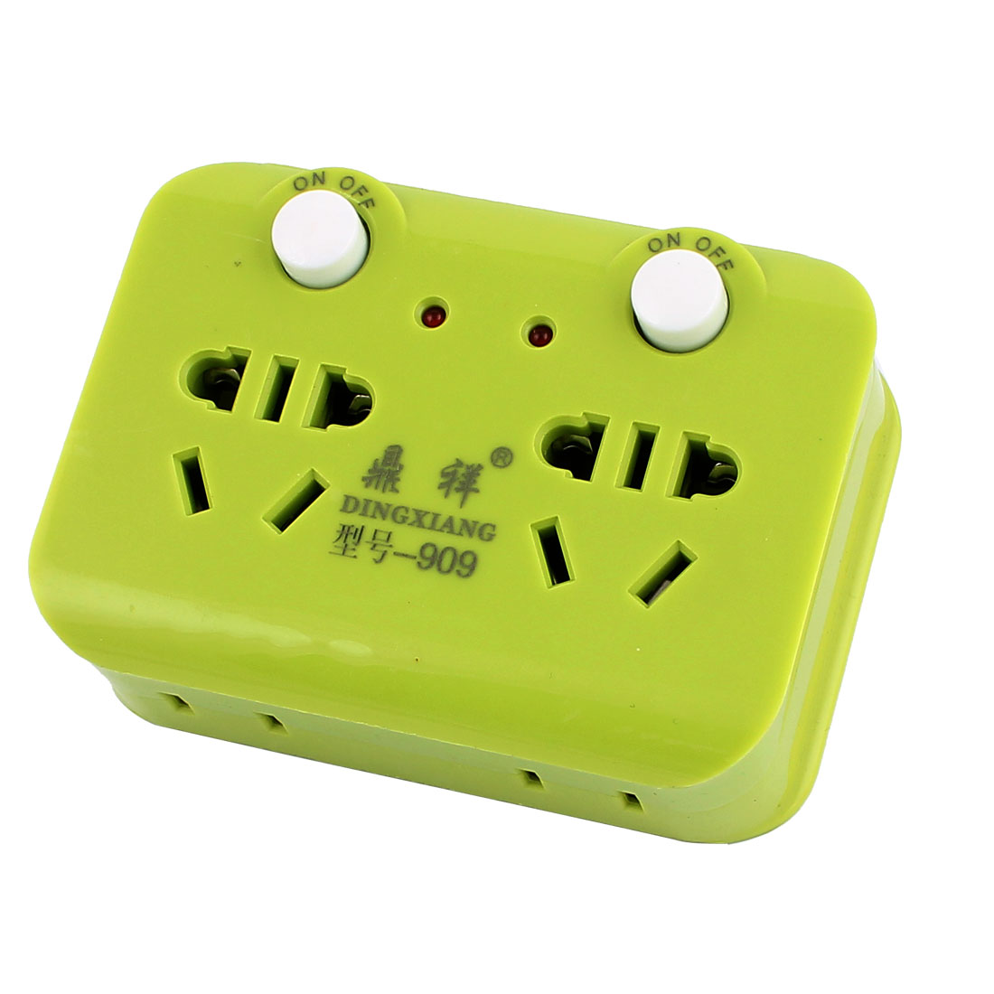 AU to AU EU US 250VAC 10A 2-Outlets 2 On/Off Button Red Lamp Indicator Power Socket Green