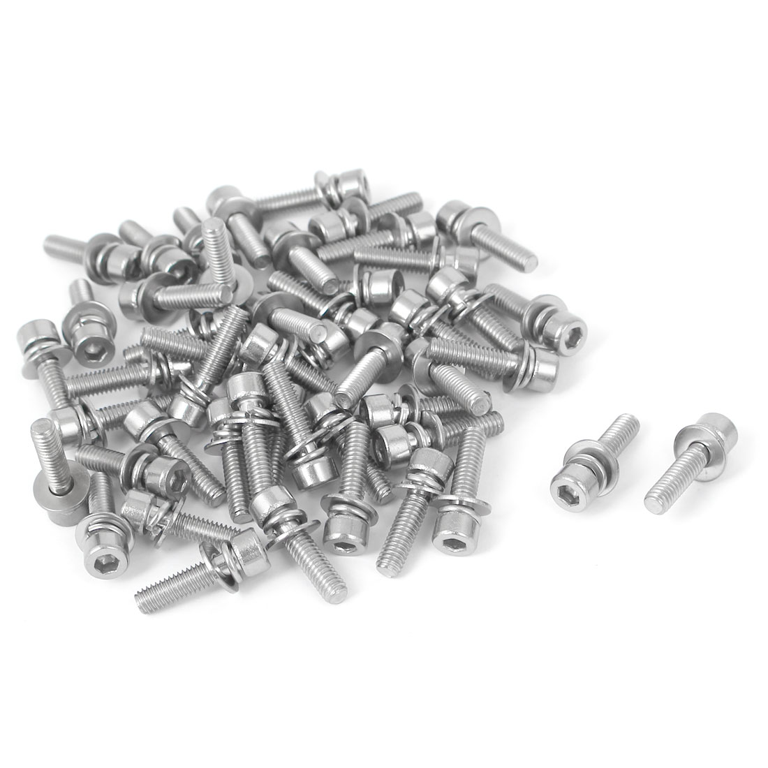 20mm Length M4 x 16mm Thread Hex Socket Head Cap Screw w Washer Silver Tone 50 Pcs