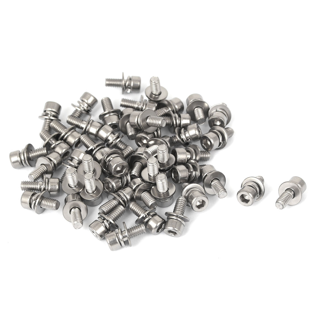M4 x 10mm 0.7mm Thread Pitch 304 Stainless Steel Hex Socket Head Cap Screw w Washer 50 Pcs