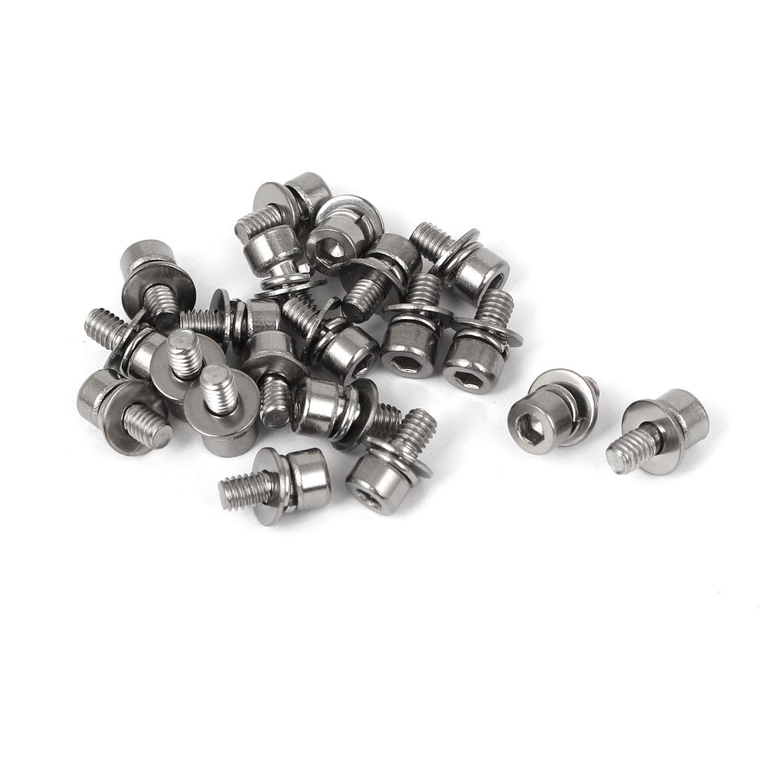 M4 x 8mm Thread 304 Stainless Steel Hex Socket Head Cap Screw w Washer 20 Pcs