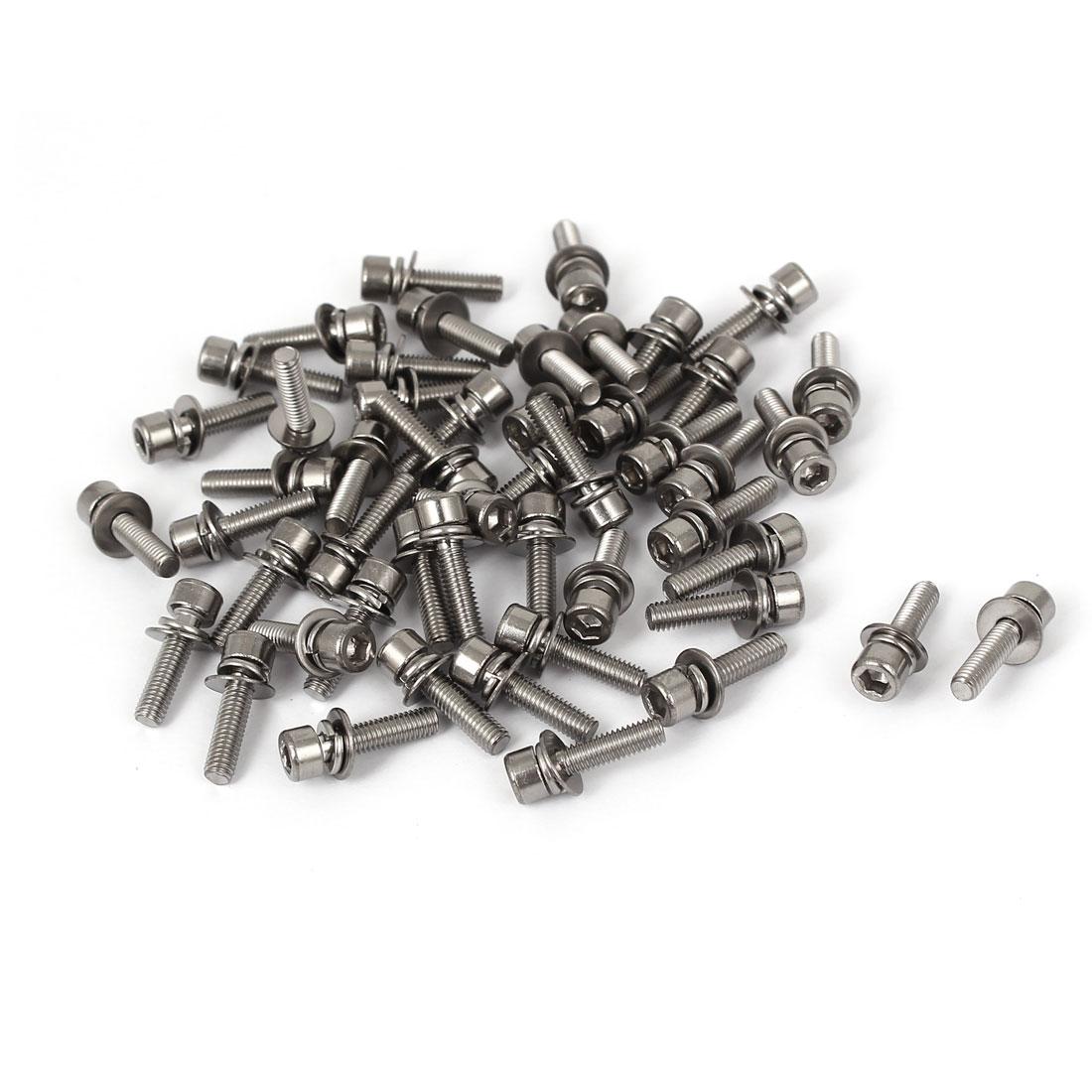 15mm Length M3 x 12mm Thread Hex Socket Head Cap Screw w Washer Silver Tone 50 Pcs