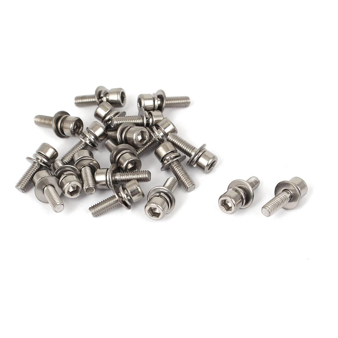 M3 x 10mm 0.5mm Thread Pitch Hex Socket Head Cap Screw w Washer 20 Pcs