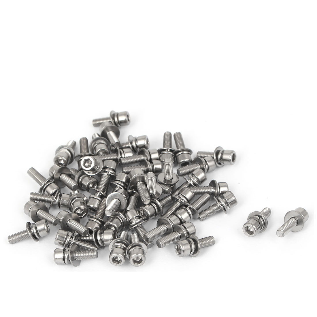 13mm Length M3 x 10mm Thread Hex Socket Head Cap Screw w Washer 50 Pcs