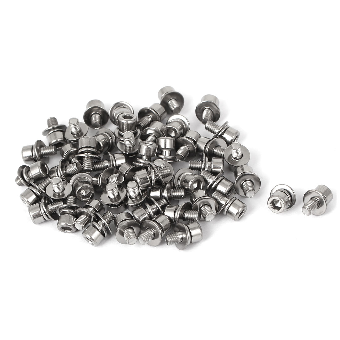 9mm Length M3 x 6mm Thread Hex Socket Head Cap Screw w Washer 50 Pcs