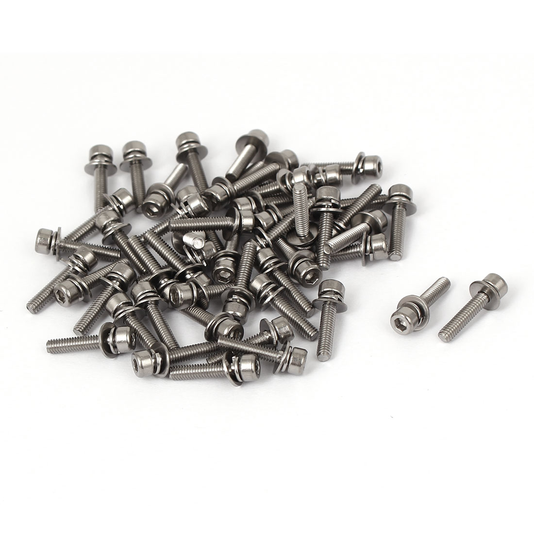M2.5 x 12mm 0.45mm Thread Pitch Hex Socket Head Cap Screw w Washer 50 Pcs