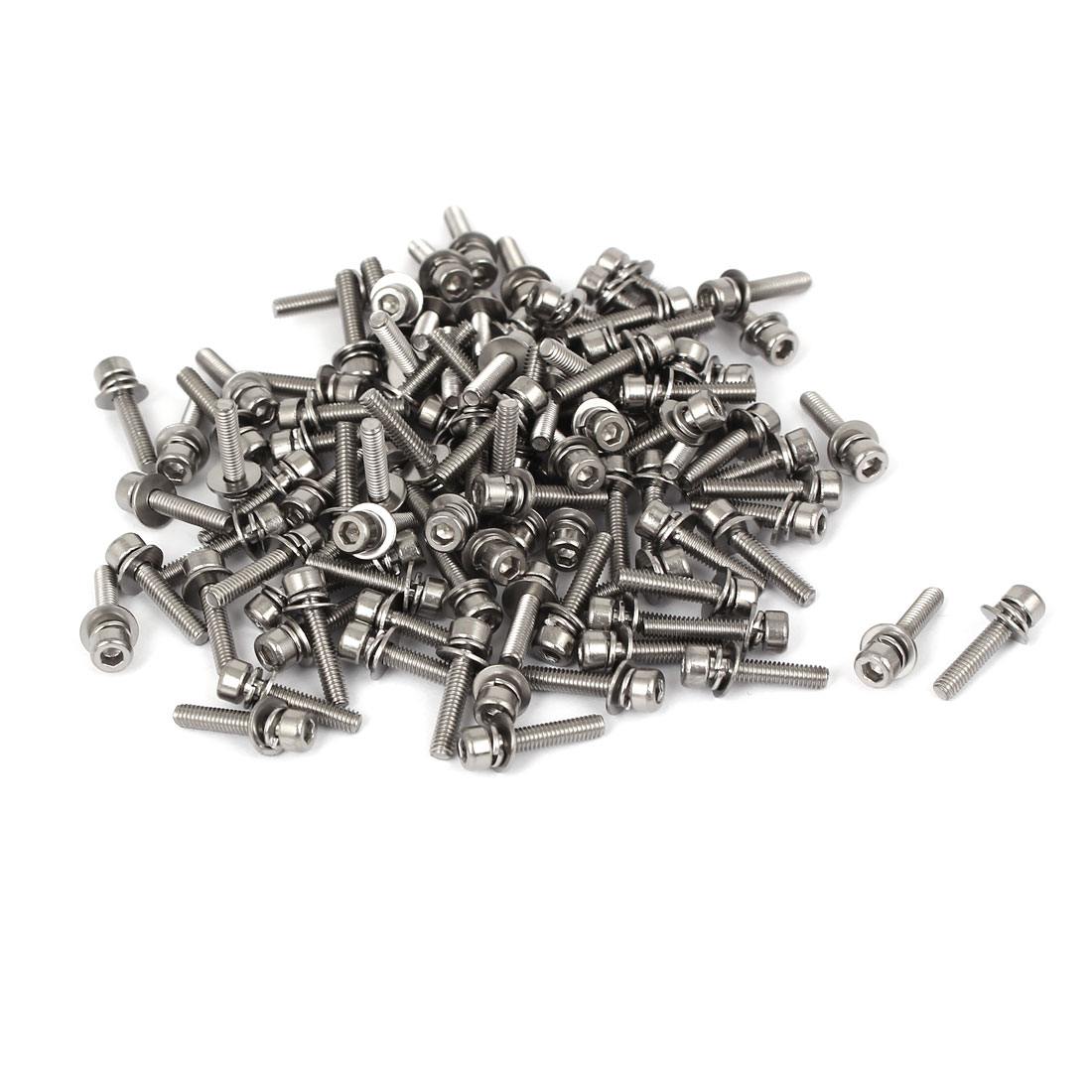 14mm Long M2.5 x 12mm Thread Hex Socket Head Cap Screw w Washer 100 Pcs