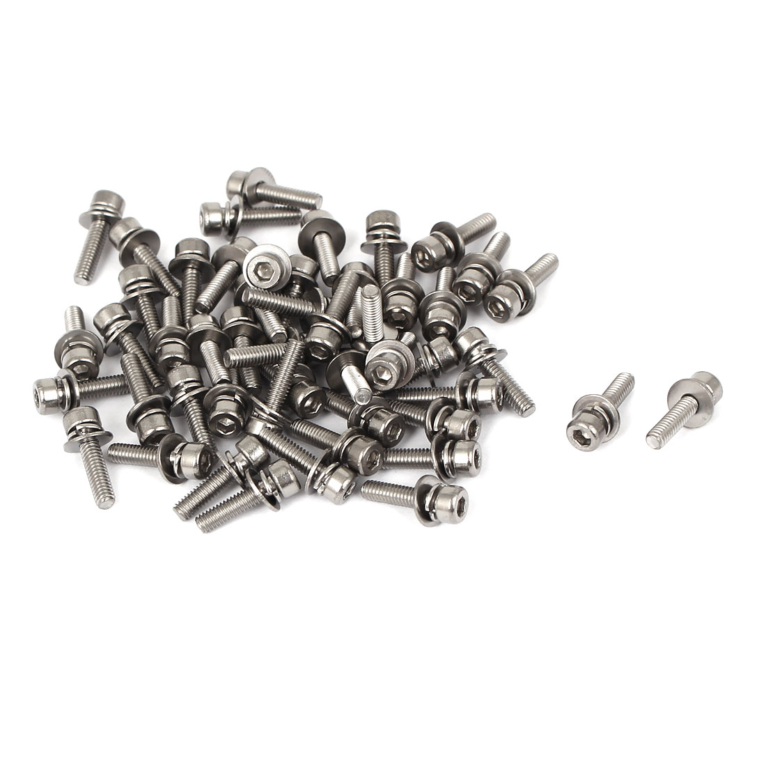 12mm Long M2.5 x 10mm Thread Hex Socket Head Cap Screw w Washer 50 Pcs