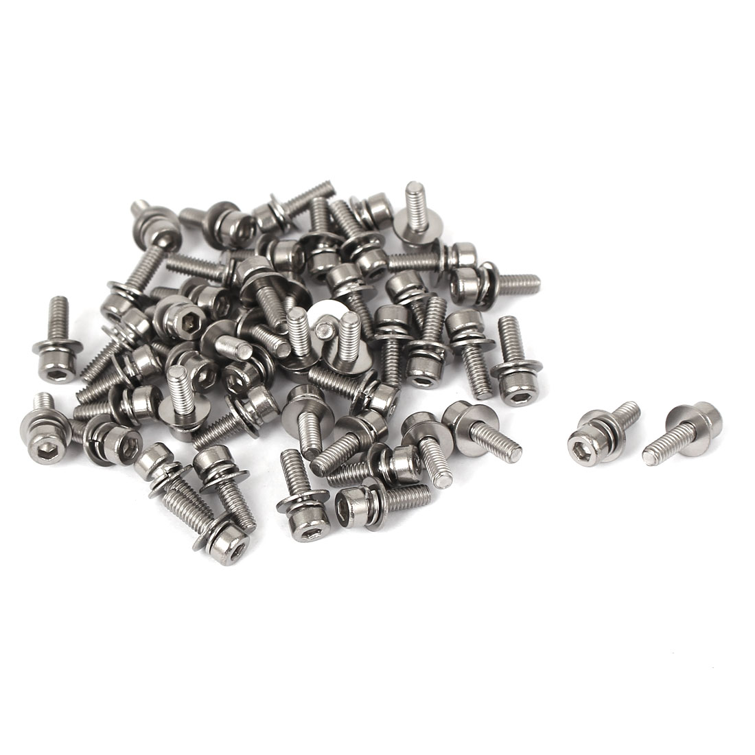 M2.5 x 8mm Thread 304 Stainless Steel Hex Socket Head Cap Screw w Washer 50 Pcs