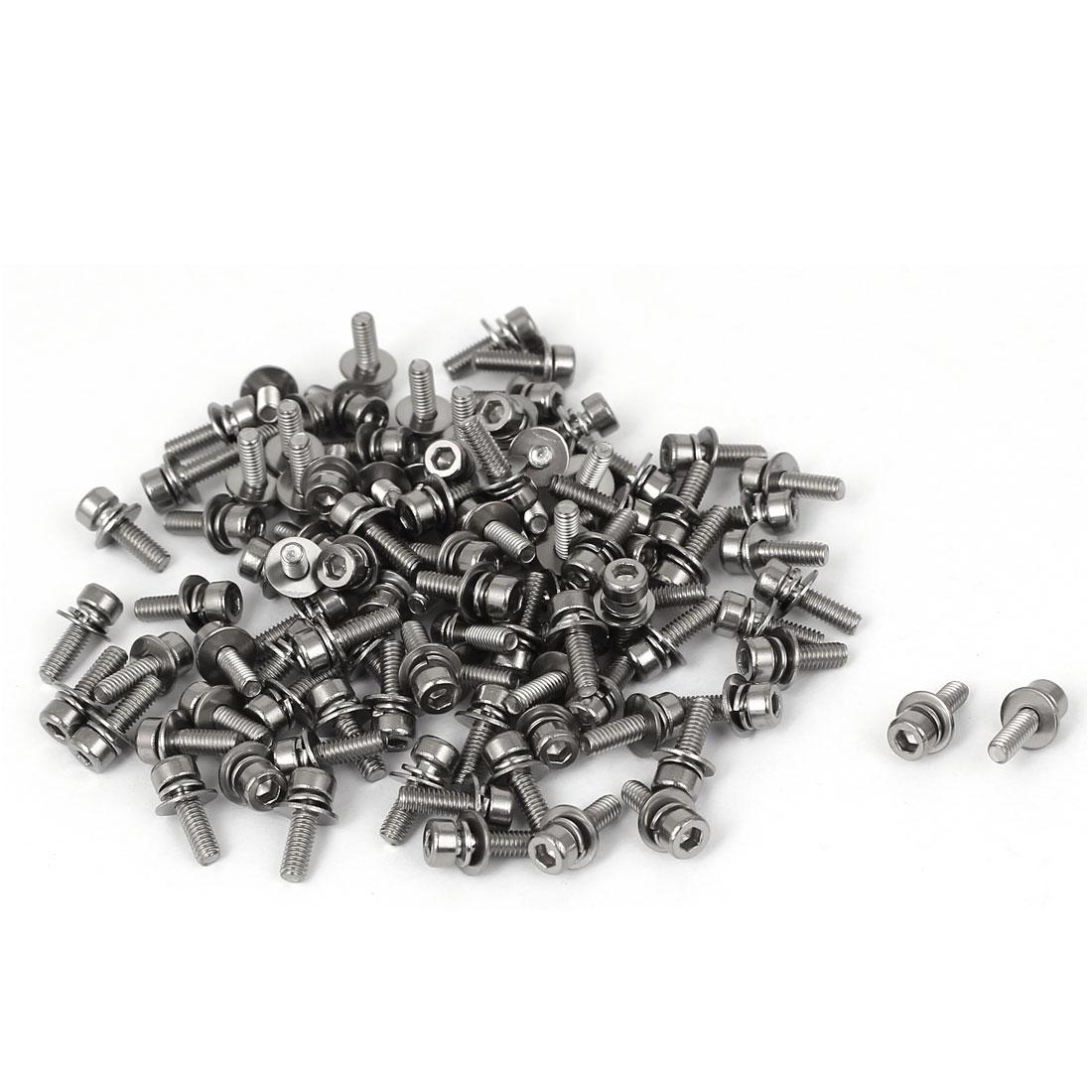 10mm Length M2.5 x 8mm Thread Hex Socket Head Cap Screw w Washer 100 Pcs