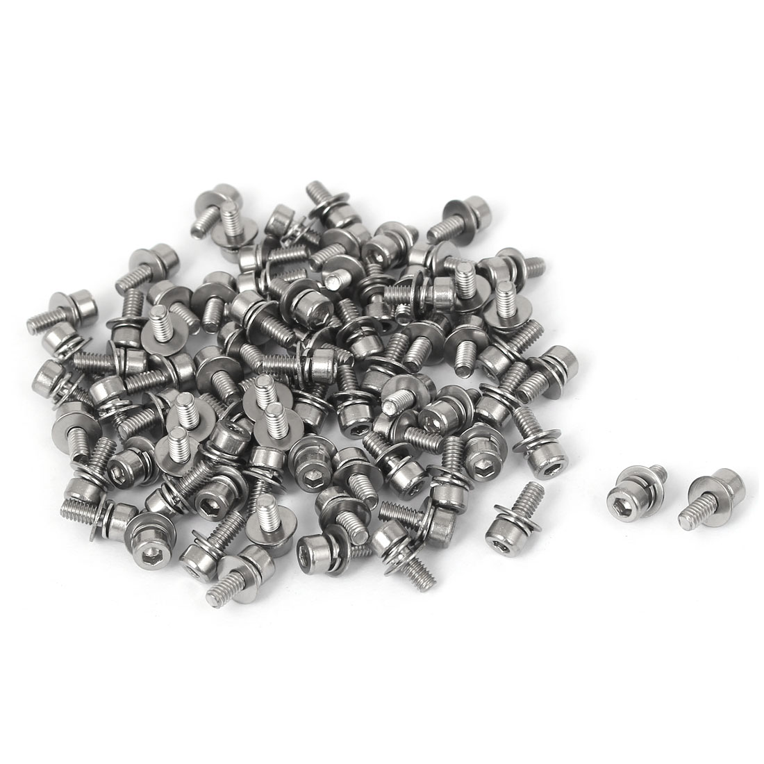 8mm Length M2.5 x 6mm Thread Hex Socket Head Cap Screw w Washer Silver Tone 80 Pcs