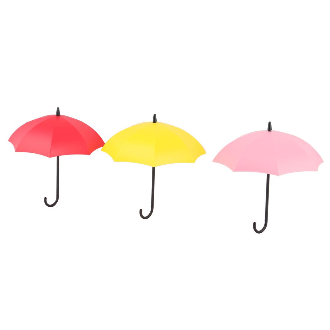 Plastic Umbrella Design Self-Adhesive Bathroom Kitchen Sticky Hooks Tri Color 3PCS