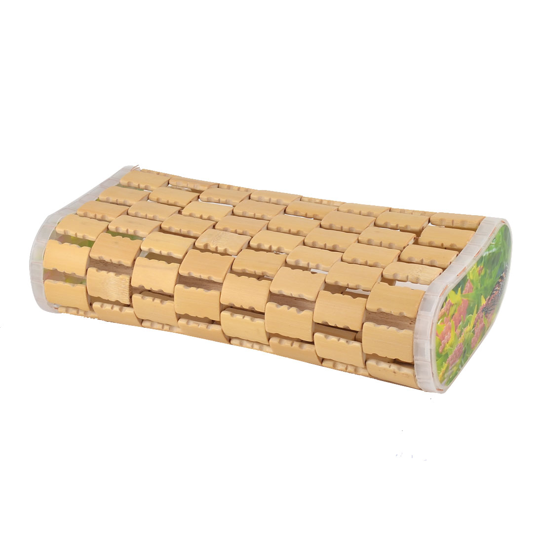 Bamboo Mesh Designed Rectangle Shape Breathable Neck Pillow 7.5 cm Height