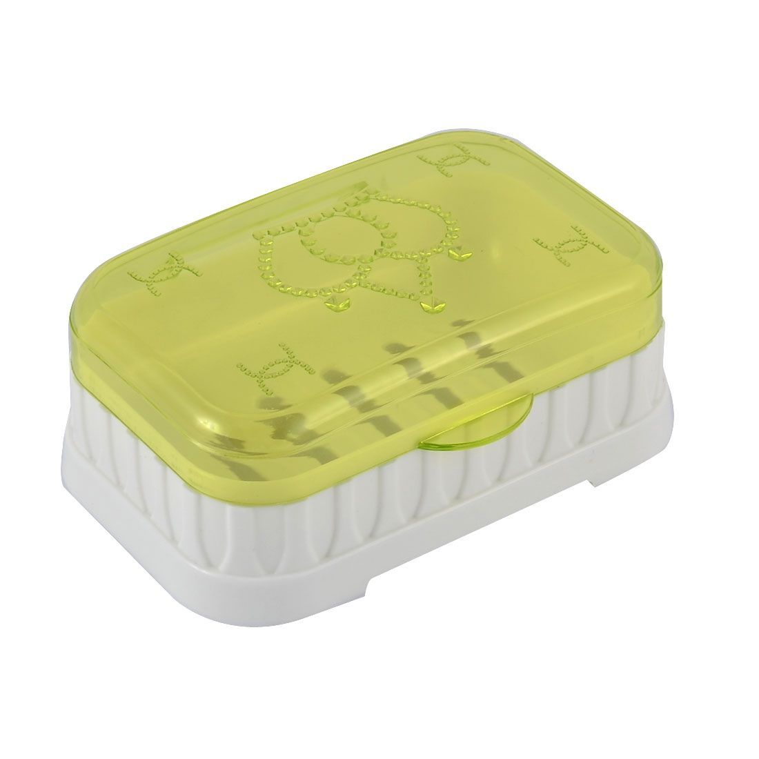 Plastic Crown Pattern Rectangle Hollow Out Bottom Soap Holder Green White