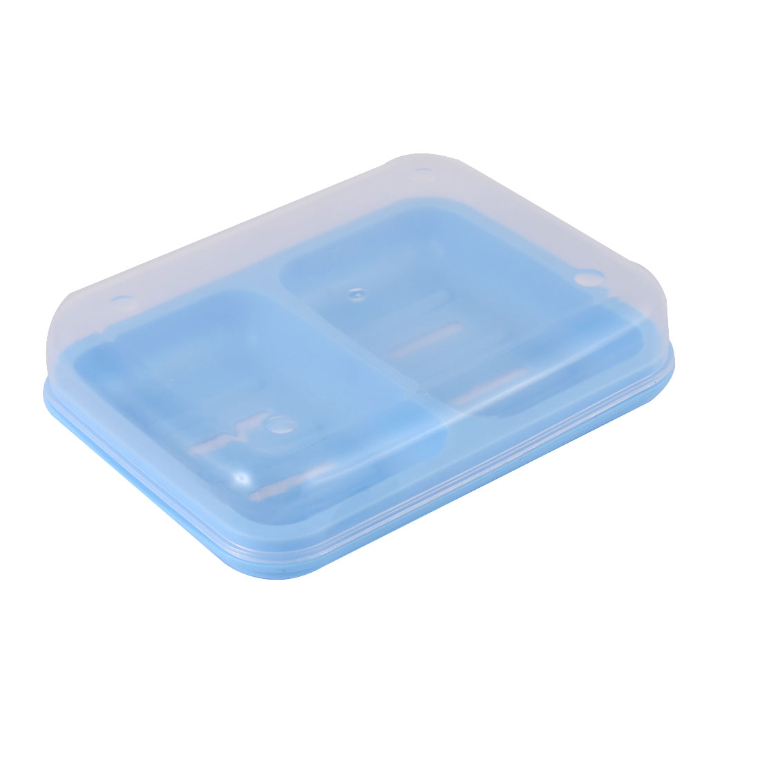 Plastic Rectangle Hollow Out Bottom Two Section Soap Case Box Holder Blue