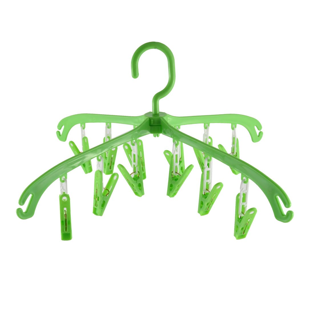 Household Plastic Foldable Clothing Socks Towels Clothes Hanger Clips Green