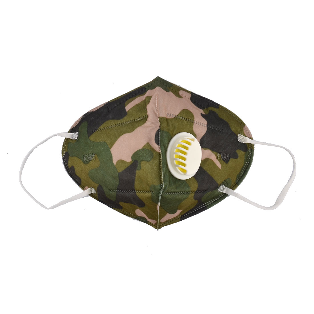 Non-woven Fabric Breather Valve Stretchy Strap Face Mask Camouflage Color