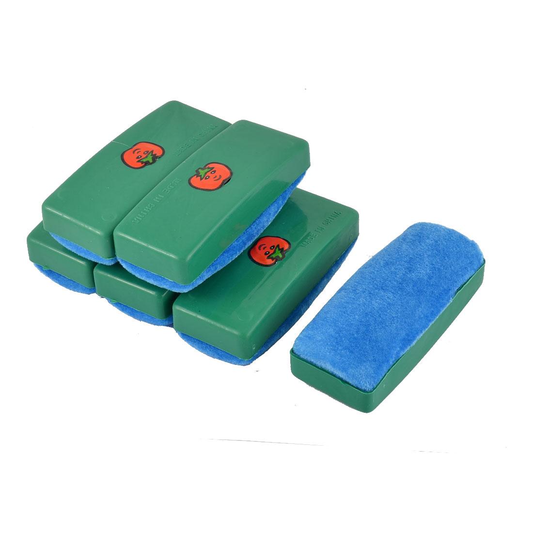 School Teaching Blackboard Plastic Shell Eraser Cleaner Blue Green 6 PCS