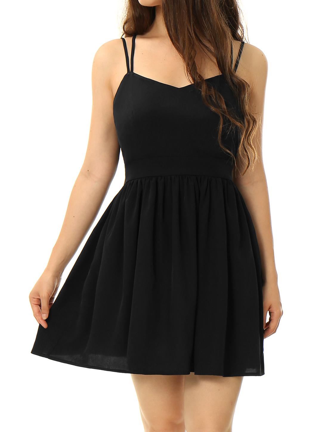 Women Dual Spaghetti Straps Criss Cross Back Mini Dress Black M
