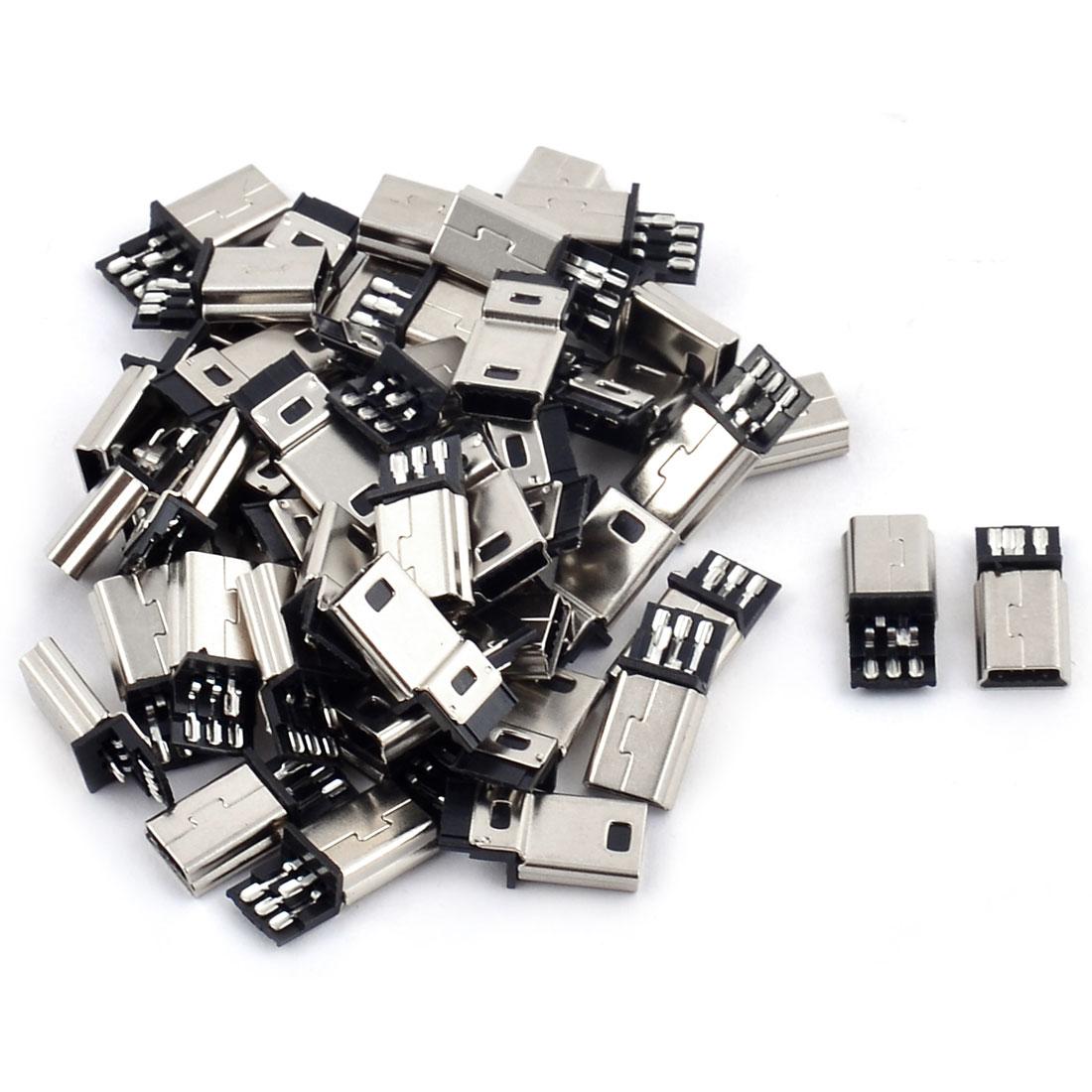DIY Mini USB 5 Terminal Type B Male Connector Silver Tone 50pcs