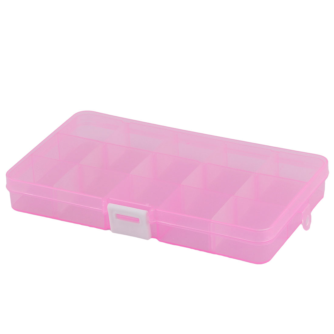 Home Desk Jewelry Bead Nail 15 Grid Storage Case Box Organizer Clear Pink