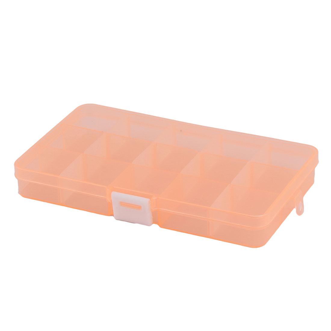 Home Desk Jewelry Bead Nail 15 Grid Storage Case Box Organizer Clear Orange