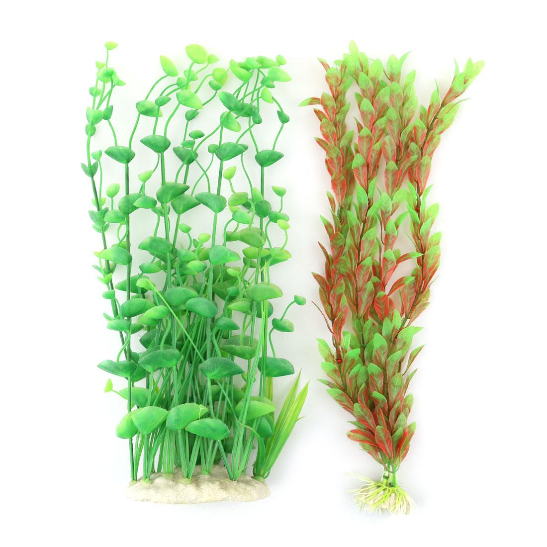 Aquarium Fish Tank Plastic Artificial Landscape Underwater Water Grass Plant Decor Green 2 in 1