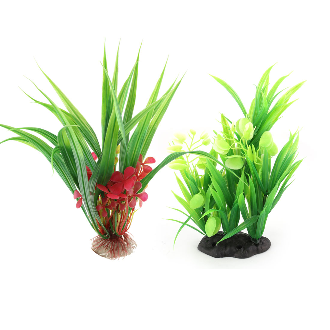 Aquarium Ceramic Base Plastic Manmade Landscaping Underwater Water Grass Plant Decor 2 in 1