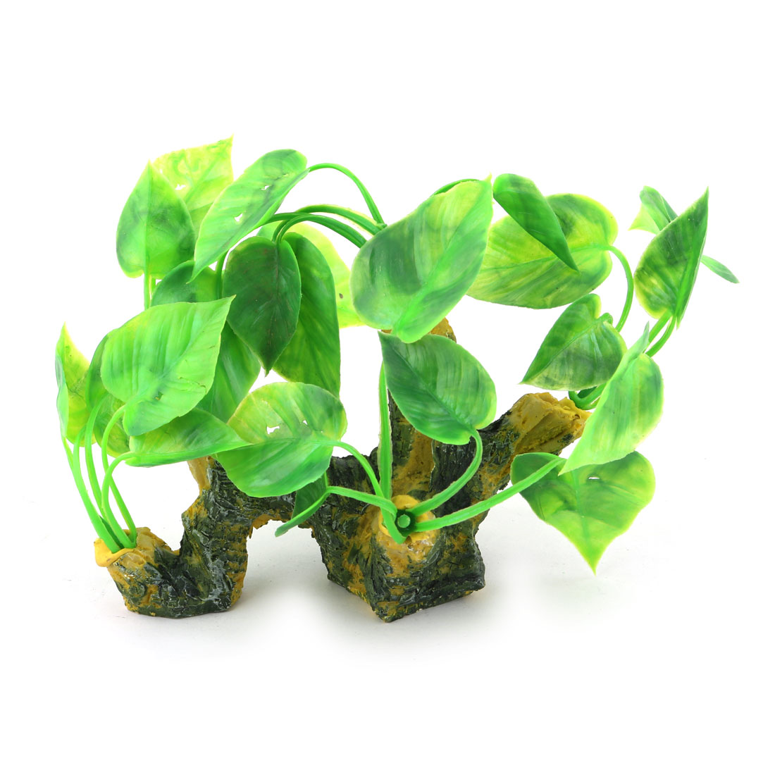 Aquarium Ceramic Base Plastic Artificial Landscap Water Grass Plant Decor Green Yellow