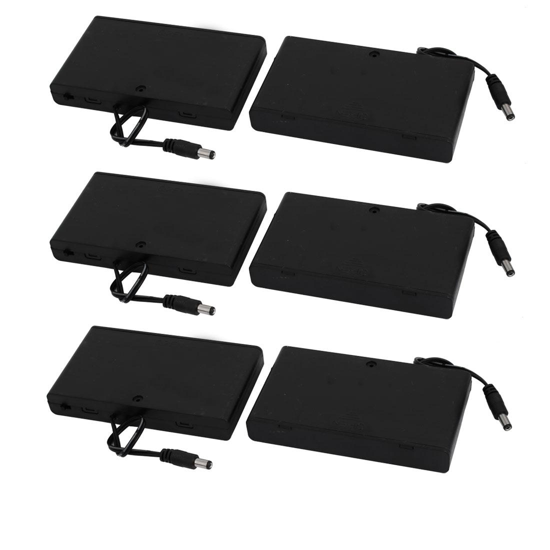 6 Pcs DC Jack Connector Battery Holder Case for 8 x 1.5V AA Battery