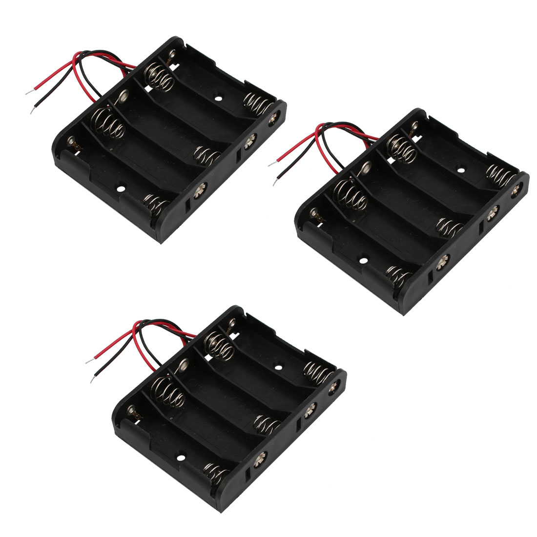 Electrical 5 x 1.5VAA Black Battery Holder Case Box Wire 3PCS