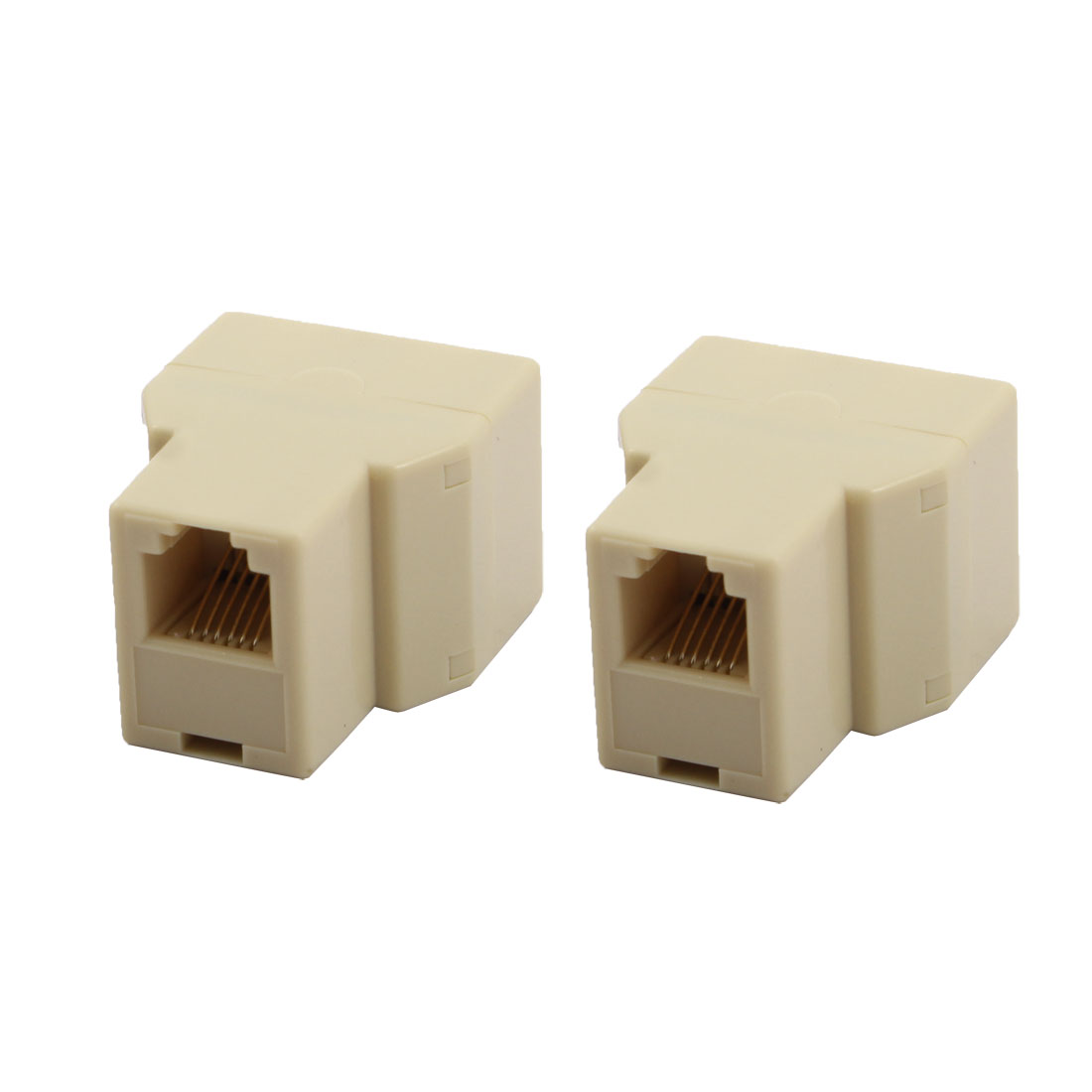 Office RJ12 6P6C 1 Female to 2 Female Port Telephone Wire Cable Connector Splitter Beige 2pcs