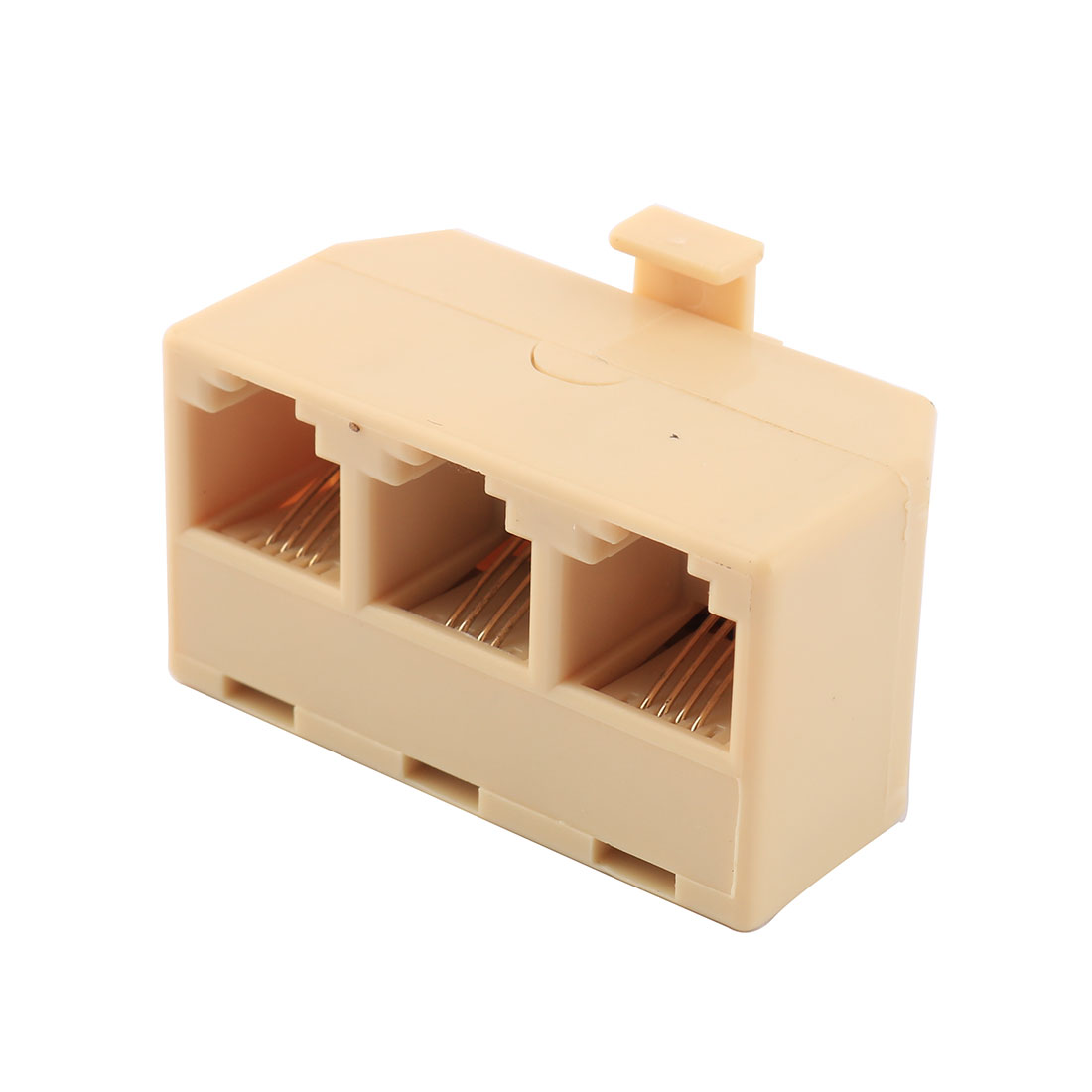 RJ11 6P4C Keystone 1 Male to 3 Female Telephone Wire Cable Connector Splitter Beige
