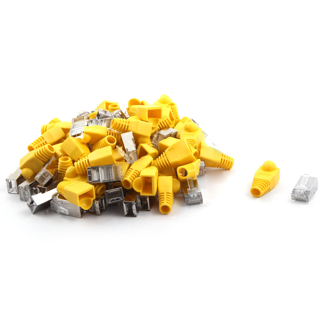 Household DIY Craft Plastic RJ45 8P8C Modular Network Adapter Connector 50pcs w Boot Guard