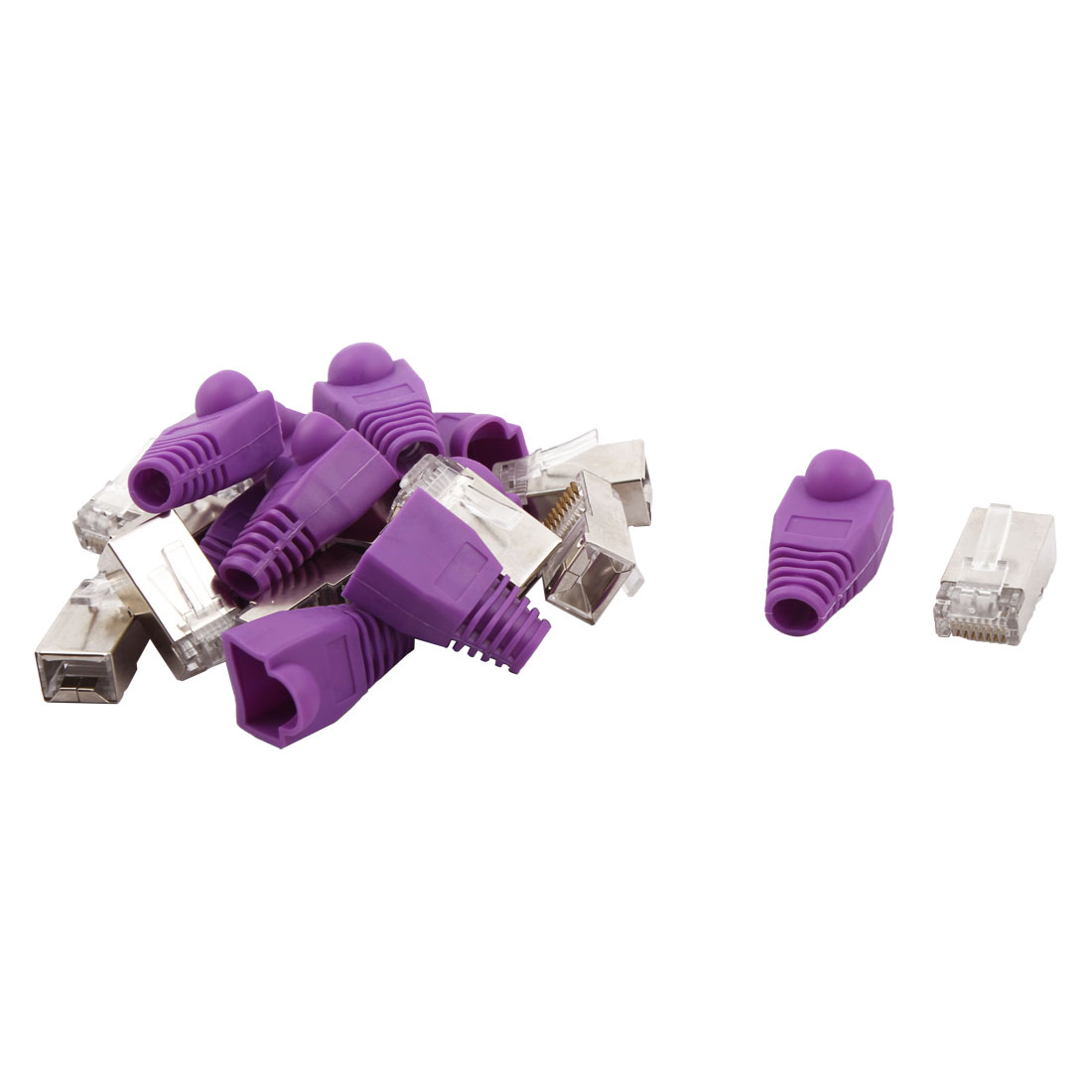 DIY RJ45 8P8C Shield Modular Ethernet Adapter Connector Purple 10pcs w Boot Guard