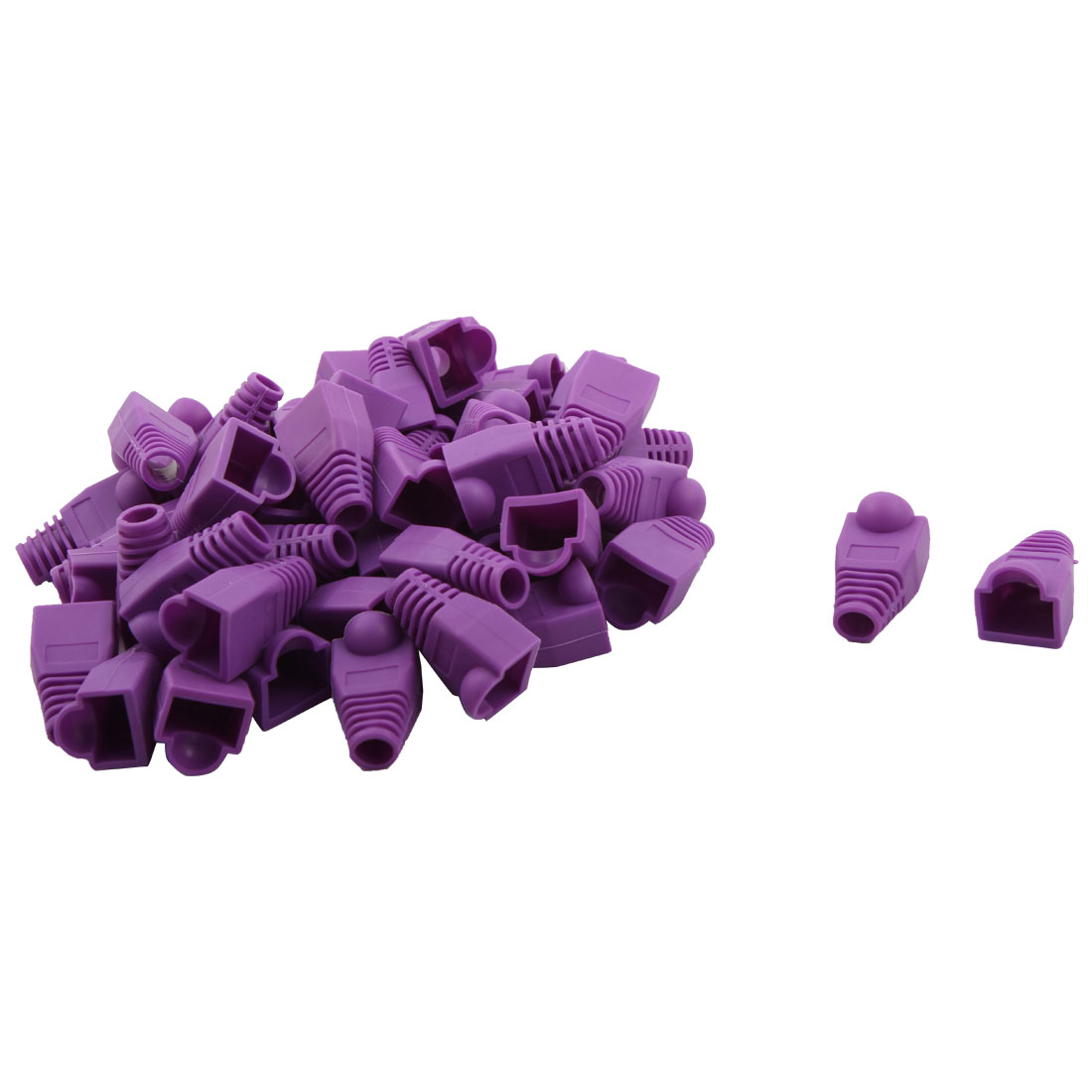 DIY Computer Plastic RJ45 Ethernet Network Cable Connector Boots Cap Cover Purple 50pcs