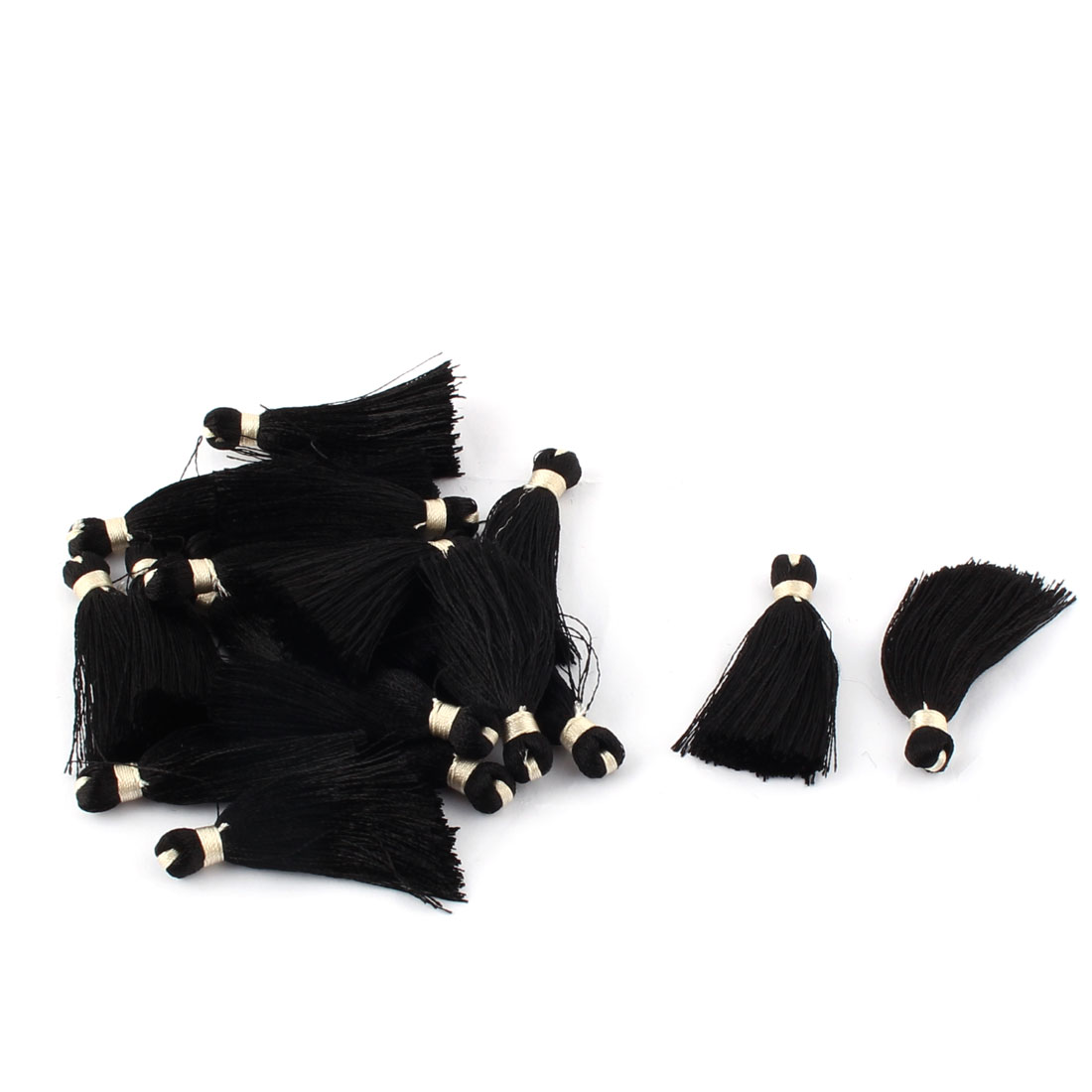 Household Polyester Decoration Handcraft DIY Jewelry Tassel Cord Black 20 PCS