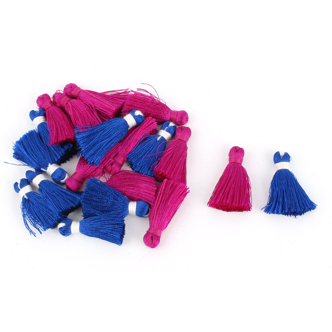 Household Polyester Decoration Handcraft Jewelry Tassel Cord Fuchsia Blue 20 PCS
