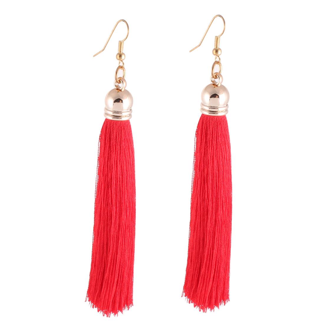 Ladies Metal Hook Polyester Tassel Ornament Drop Earbobs Earrings Red Pair