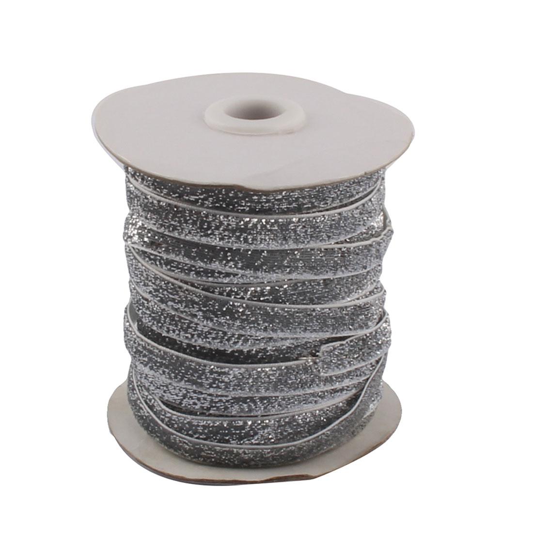 Home Festival Wedding Polyester Ribbon Bling DIY Decor Silver Tone 45.7M Length