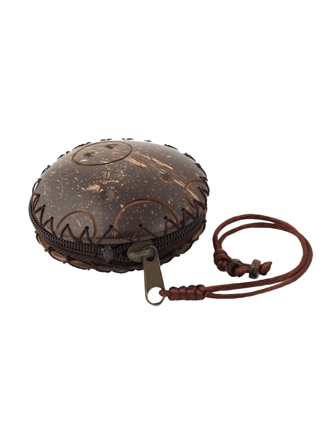 Ladies Coconut Shell Shaped Wooden Zipper Closure Design Handmade Money Coin Purse Brown