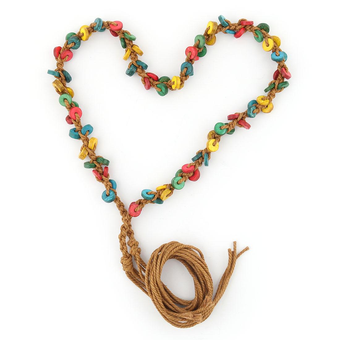 Ladies Wooden Retro Style Decoration Handmade Chain Tie Waistband Belt Multicolor