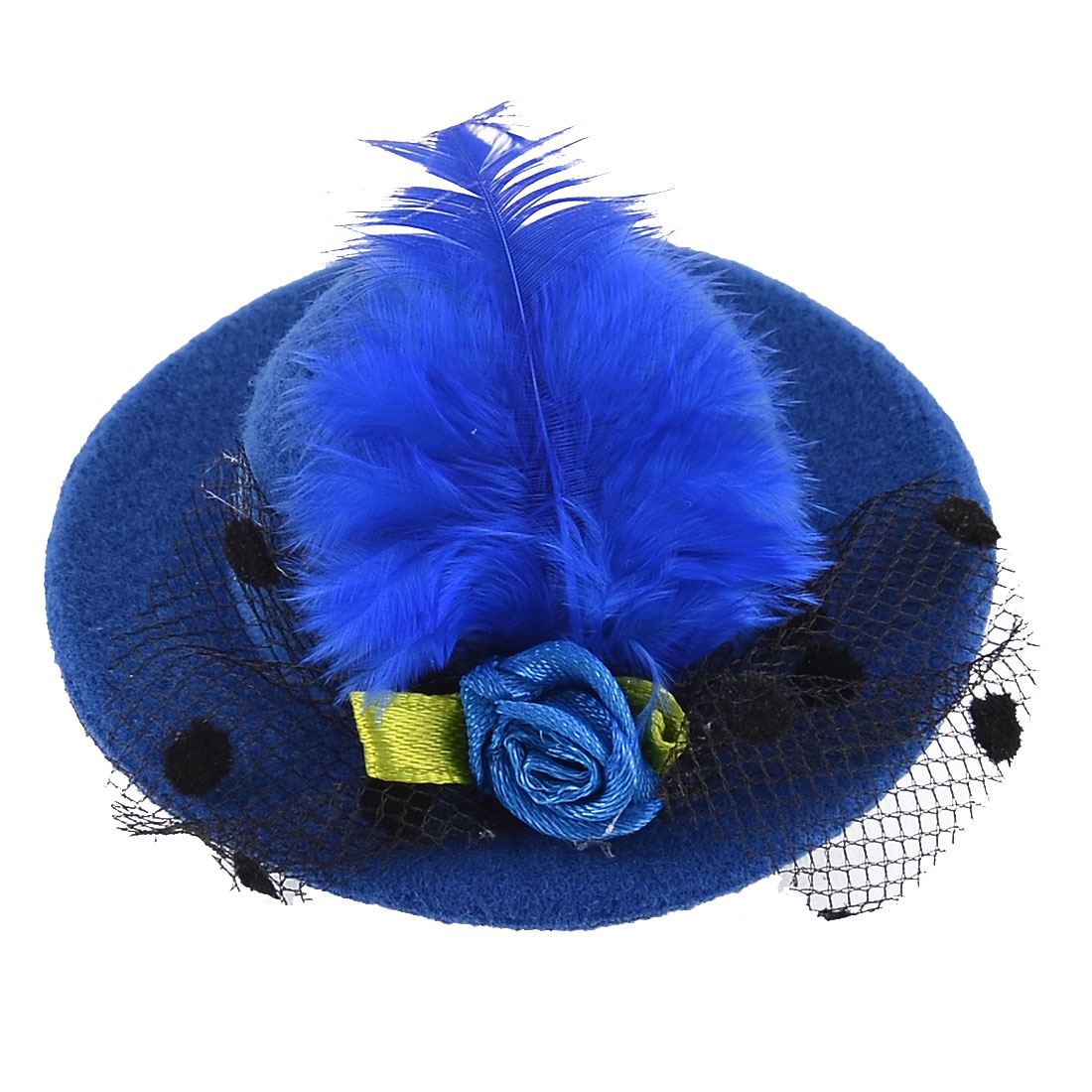 Feather Mini Top Flowers Hat Shaped Alligator Hair Clip Blue
