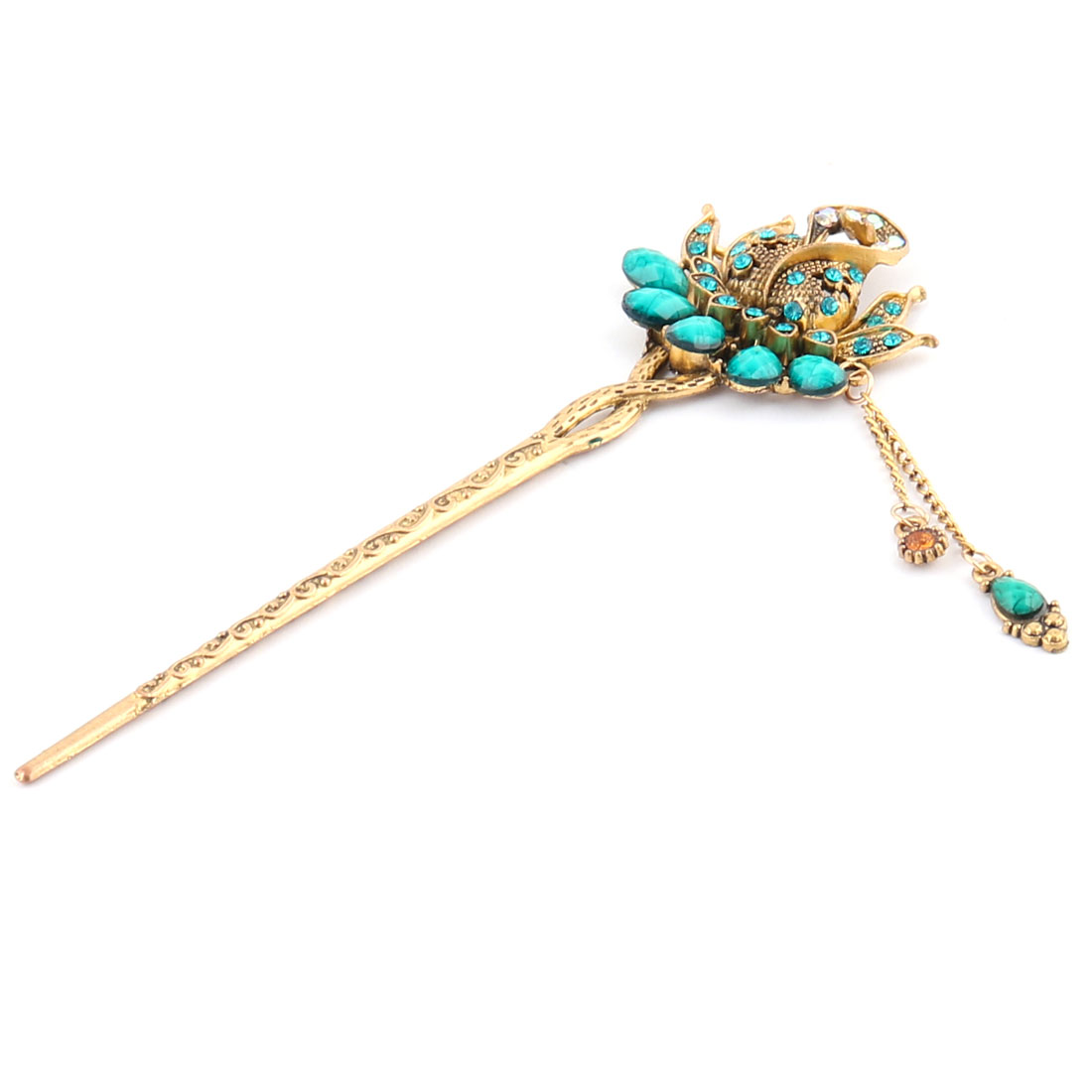 Studio Lady Retro Flower Decor Tassel Artificial Diamond Skillet Hair Pin