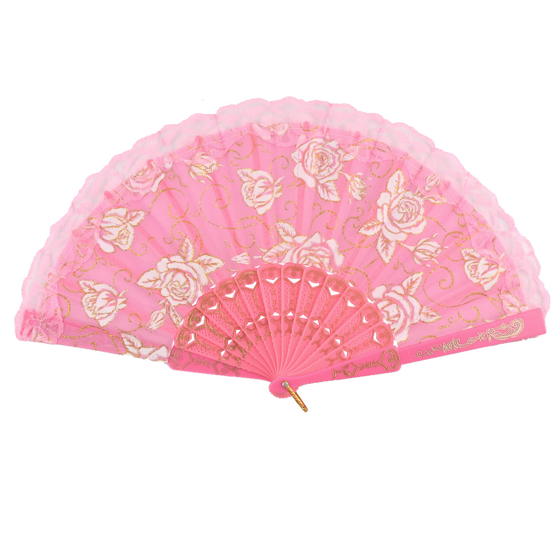 Dancing Wedding Party Fabric Chinese Style Rose Pattern Handy Folding Fan Pink