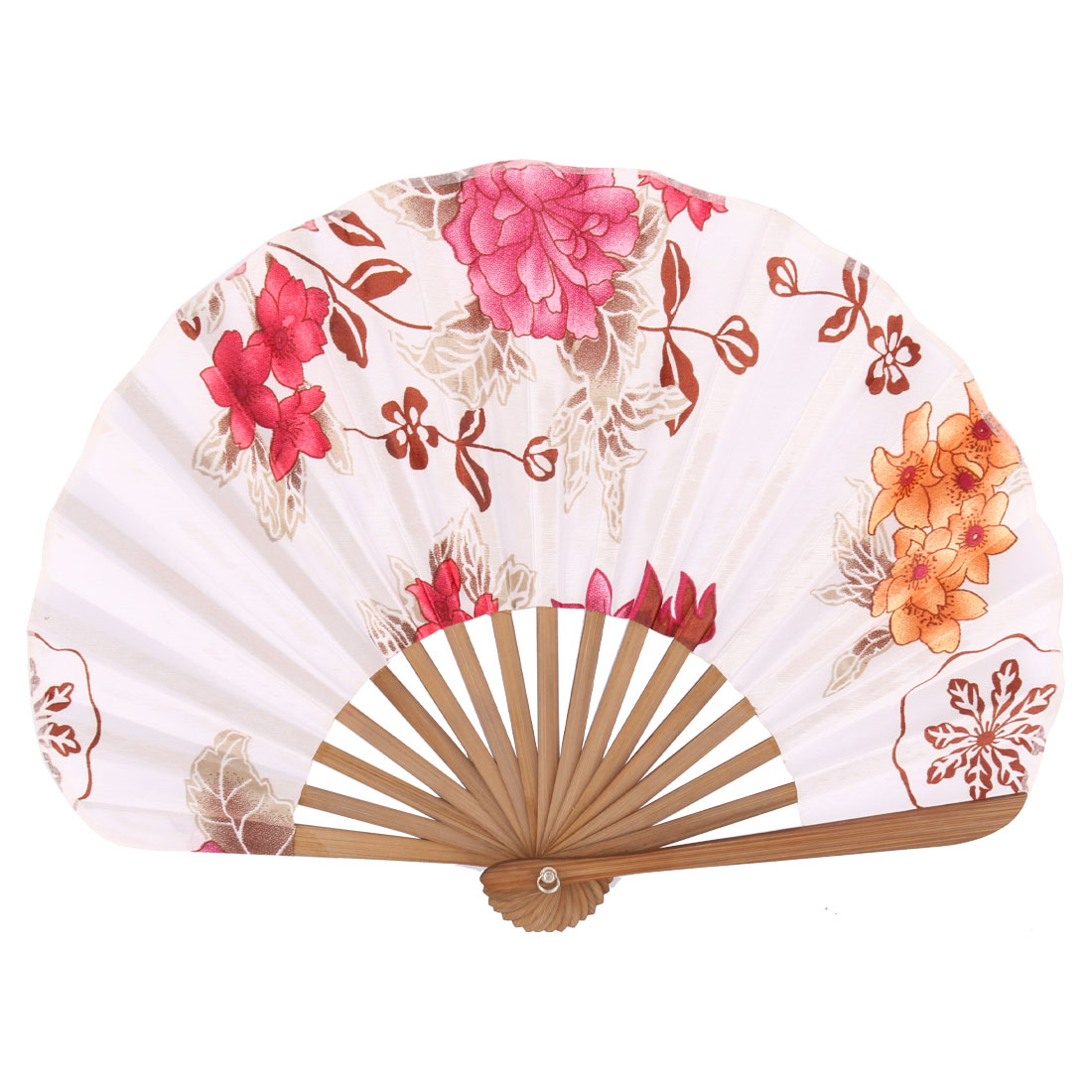Wood Frame Flower Blossom Pattern Straight Rod Handheld Folding Fan