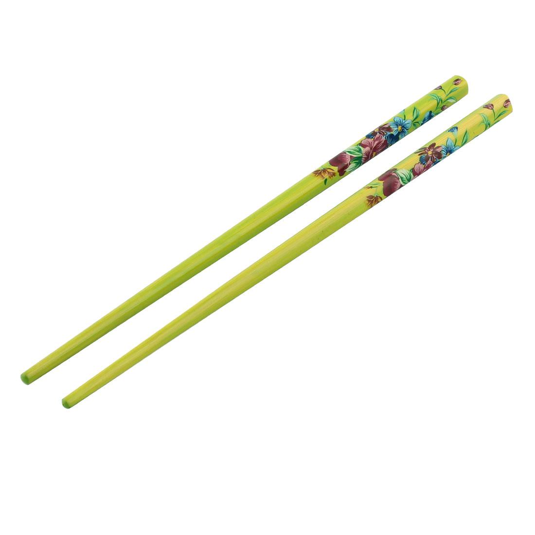 Women Wooden Chinese Traditional Elegant Hairpins Stick Dark Green Pair